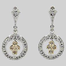 Vintage 14K solid white gold Earrings w/ diamonds
