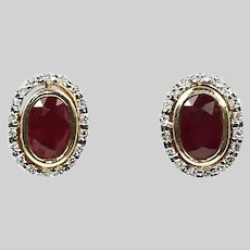 Fine 14K solid yellow gold Earrings set with Ruby and Diamonds