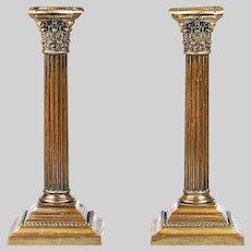 c.1900 Pair of Gorham Corinthian Column brass Candlesticks candle holder