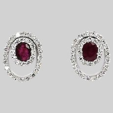 Solid 14K white gold stud Earrings with Ruby and diamonds