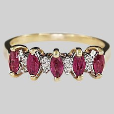 14k solid yellow gold Ring size 7 set with Ruby and Diamonds