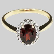 14k solid yellow gold Ring size 6.5 set with Ruby and Diamond