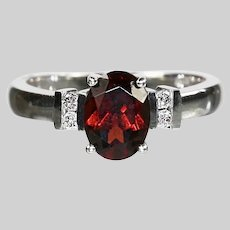 10K white solid gold Ring size 5.5 with ruby and diamonds