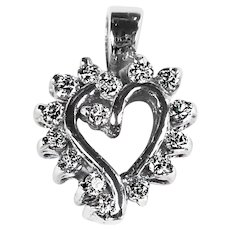 Vintage 14K solid white gold and diamond Heart Pendant
