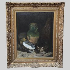 Antique 19thC French Ismael Adolphe Clavel oil canvas painting Still life w/ Cat