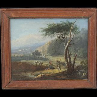 Antique Baroque Landscape European old Master oil copper miniature 18th century