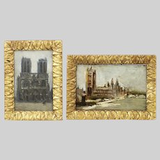 Pair of antique 1889 miniature Paintings Cathedral Study oil on panel