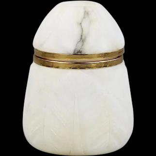 Carved natural alabaster Trinket Box hinged lid hard stone