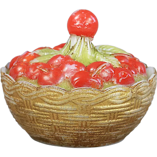 Collectible Antique French Vallerysthal opaline glass Box Cherries in Basked