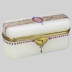 Antique French Napoleon II era white opaline glass Trinket Box or casket