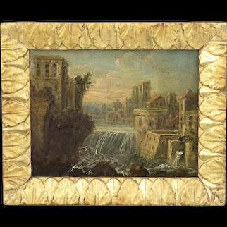 Antique 18th century old master oil copper miniature Painting Baroque Landscape