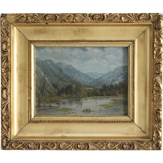 Antique around 1900' oil on canvas Landscape Painting