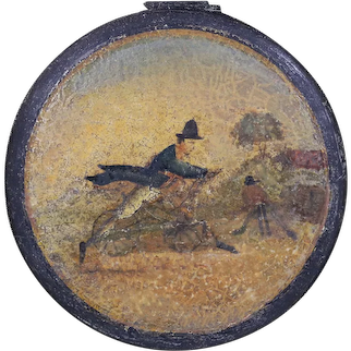 Antique 19th Century oil wood miniature painting Men on Bicycles indistinct sign