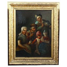 Antique 18thC Austrian signed Emile... O/C painting TEA PARTY