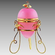 Antique French Pink Opaline & Gilt Ormolu Egg Box, Perfume Bottle holder