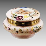Antique Victorian jewelry box or powder jar, enameled opaline glass