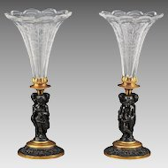 Pair French Antique Bronze and Crystal Vases with Cherubs