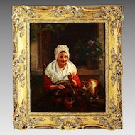 Antique 19thC Oil on Board Painting by Belgian Artist J.L.Dyckmans 1811-1888