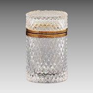 French clear crystal glass Box, hinged lid, ormolu mounts, diamond point design