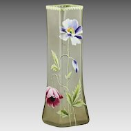 Antique Vase hand blown square shaped enamelled Glass