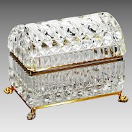 Xl Clear crystal trinket or jewelry Casket with hinged domed lid