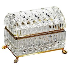 Xl Clear crystal trinket Box, Casket with hinged domed lid