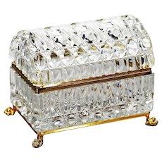 Xl Clear crystal glass trinket or jewelry Casket