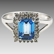Fine 14K white gold blue Topaz and diamond Ring size 6.5 sizable