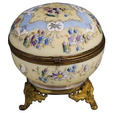Antique Victorian era enameled opaline glass hinged trinket or powder Box