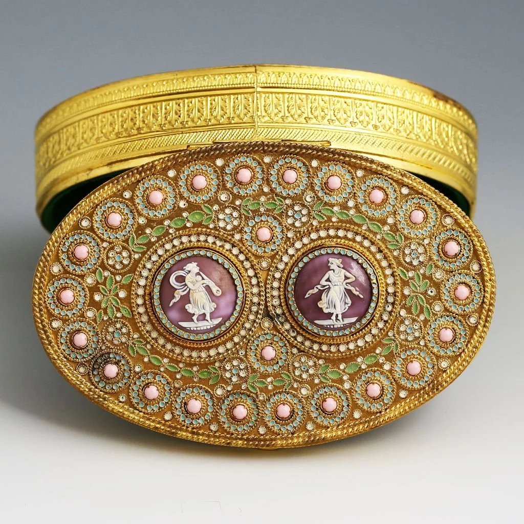 Antique Austrian Gilded Enameled Bronze Box With Cameos