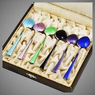 Vintage Norway sterling silver enamel set of demitasse spoons in presentation box