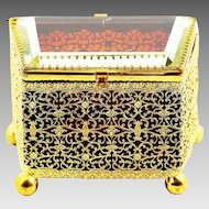 Antique Bohemian ruby amber crystal glass & ormolu filigree Trinket Box with hinged lid