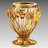 French crystal glass Vase set into floral gilded bronze mounts