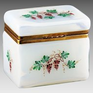 Vintage large Italian Opaline crystal glass trinket Box, hinged lid, hand painted clusters of grape
