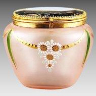 Antique Biedermayer Germany hand blown enameled glass Souvenir Box