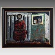 Painting oil on masonite signed Jesus Carlos De Vilallonga (Spanish, 1927-)