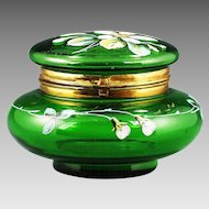 Antique Victorian Green enamelled art glass hinged trinket Box