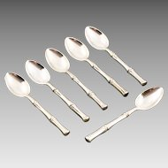 Set of six 925 Sterling Silver tea coffee spoons by Tiffany in Bamboo pattern