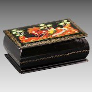Vintage Hand Painted Russian art signed Palekh Lacquer trinket hinged Box