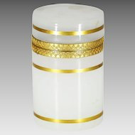 White Opaline Glass trinket or jewelry Box with hinged lid