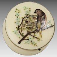 Antique Victorian enamelled art glass hinged trinket Box or powder jar