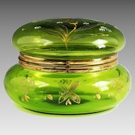 X large Antique Victorian era Green enameled glass hinged trinket BOX