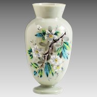 Antique Victorian slate opaline glass vase, hand painted dogwood flowers
