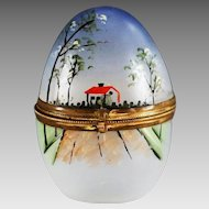 Antique Bohemian trinket or jewelry hand painted glass egg Box hinged lid