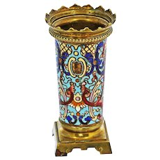 Antique French Napoleon era Bronze dore Champleve Enamel Vase