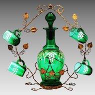 Antique French emerald green glass liquor set, Decanter & Cordials in ormolu mounts