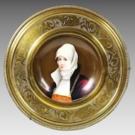 Hand painted portrait of Young Lady German Porcelain Plate set in a brass and felt frame