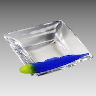 Daum France clear crystal square dish with royal blue feather