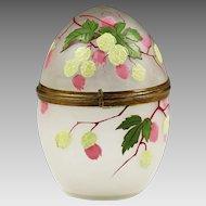 "5.5"" Antique Victorian ennameled art glass trinket egg Box"
