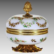 Antique French opaline crystal glass trinket hinged Box, signed R.Noirot